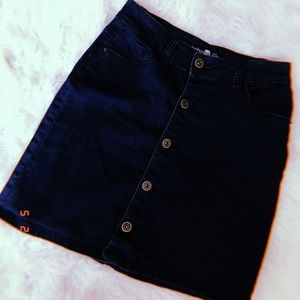 Dark Blue Denim Button Skirt